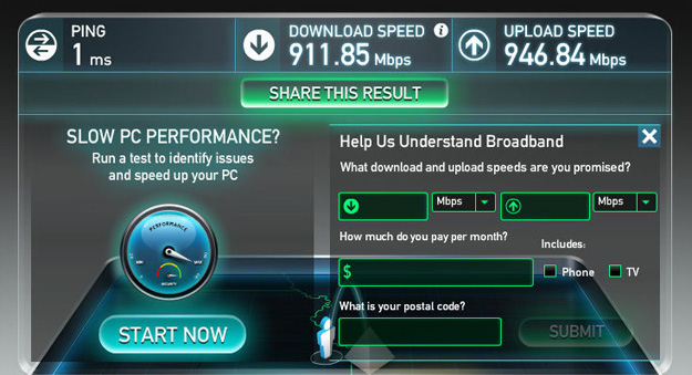 gOOGLE fIBRE sPEEDTEST